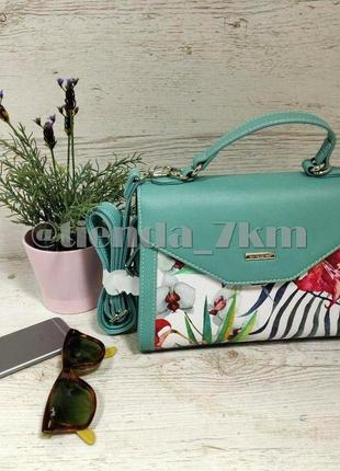 Женская сумка через плечо с цветочный принтом от david jones g-9126-1 зеленая3