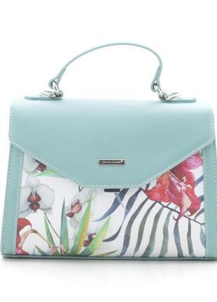 Женская сумка через плечо с цветочный принтом от david jones g-9126-1 зеленая5