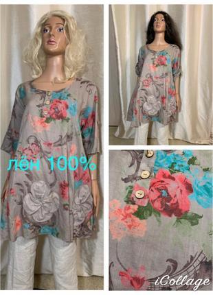 Италия красивейшая льняная туника льняная блуза 100% лён лен