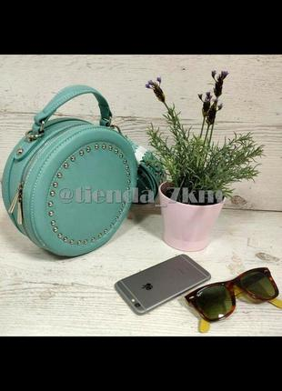 Круглая сумка от david jones с заклепками cm3585 зеленая