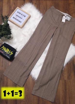 Next штаны брюки m бежевые коричневые лён стрелки палаццо кюлоты классика прямые широкие