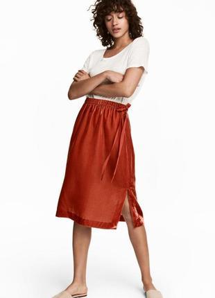 H&m терракотовая юбка, бархатная, велюровая