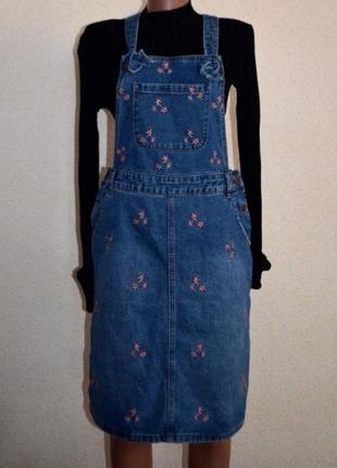 Сарафан джинсовый tu с вышивкой
