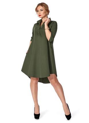 Трендовое платье рубашка хаки