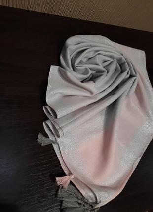 🌼роскошный турецкий платок арафатка кашемир люрекс серый с пудрой