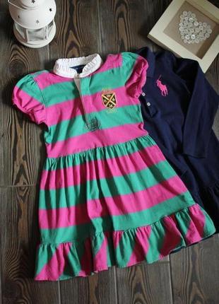 Базовое платье в полоску с коротким рукавом и эмблемой ralph lauren