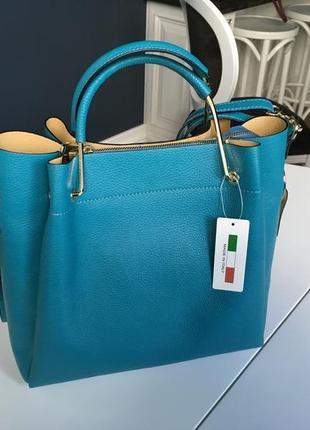 Стильная кожаная сумка шоппер merry бирюзовая gregorio pelletteria ( italy, firenze )