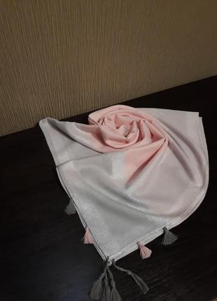 🌷роскошь турецкий платок арафатка кашемир люрекс нежно розовый и серебро