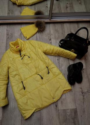 Желтый утеплённый пуховик, куртка демисезонный