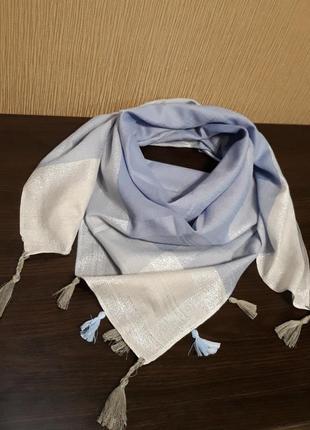 💝роскошный турецкий платок арафатка кашемир люрекс небесный серый