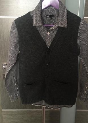 Комплект жилетка+рубашка не обманка р122-128