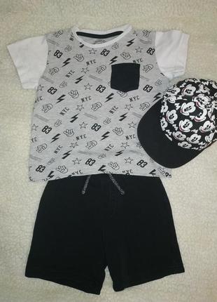 Летний комплект на 4 года кепка реперка шорты футболка george