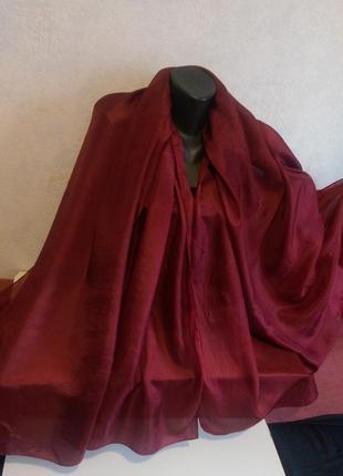 Большой!темно-бордовый палантин,платок,нежный летящий шелк