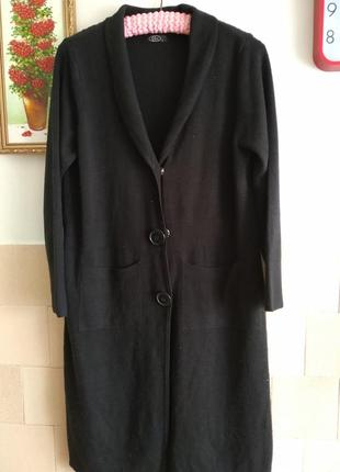 Кардиган стильный чёрный длинный с карманами р l