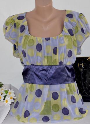 Брендовая шифоновая блуза george принт крупный горох большой размер этикетка