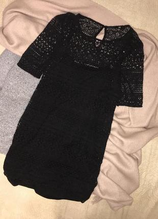 Шикарное черное кружевное/ажурное мини платье прямого кроя h&m, p.xs(34)