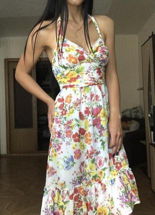 Хит сезона платье сарафан с рюшами миди цветочный принт