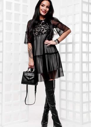 Нереально красивое стильное вечернее коктейльное платье сетка набивное кружево