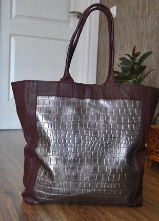 Кожаная сумка шоппер тоут stow london / шкіряна сумка