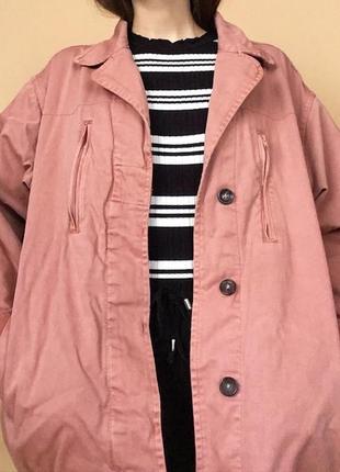 Куртка/джинсовка oversize пепельно-розового цвета