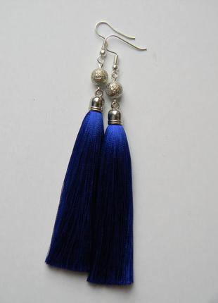 Синие серёжки кисточки с серебряными бусинами