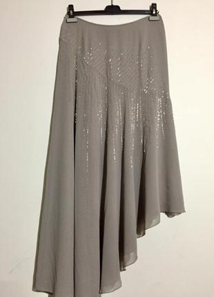 Шикарная ассиметричная дизайнерская юбка amanda wakeley (нюанс)