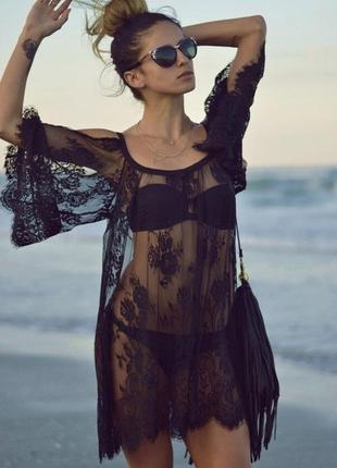 Пляжная туника, накидка на пляж, кружевная туника, гипюровая черная размер с - м