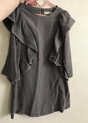 Платье льняное серое  zara