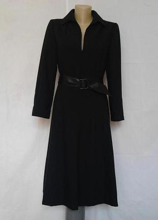 Стильное винтажное платье,черное,кожаный ремень,на молнии,шерсть,на подкладке delmod