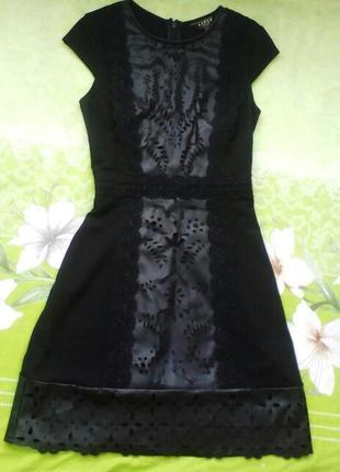 Шикарное платье комбинированое элементами кожи.лондон