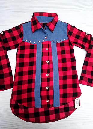 Рубашка красная в чёрную клетку для девочки