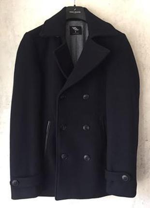 Актуальное двубортное шерстяное пальто, темно-синее, ог 91-96 см/ s, акционная цена