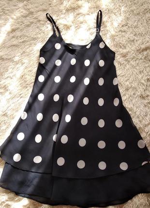 Красивенное темно синее платье в горошек, размер 46-48