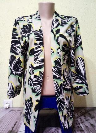 Легкая летняя накидка-пиджак от m&co, распашной кардиган,блуза с принтом