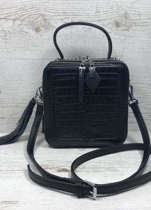 Женская кожаная сумка крокодил черный жіноча шкіряна сумка чорна