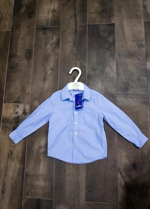 Стильная хлопковая голубая рубашка на мальчика 12-18 мес. от lupilu. новая!