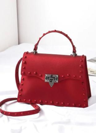 Сумка женская красная силиконовая дизайнерская стильная яркая