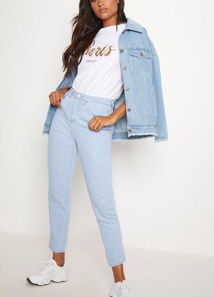 Брендовые прямые джинсы в полоску/свободный крой/тонкая полоска