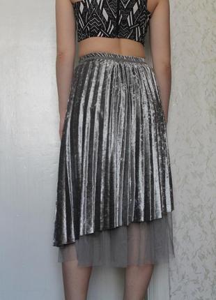 Плиссированная велюровая юбка с шифоном / миди с-м