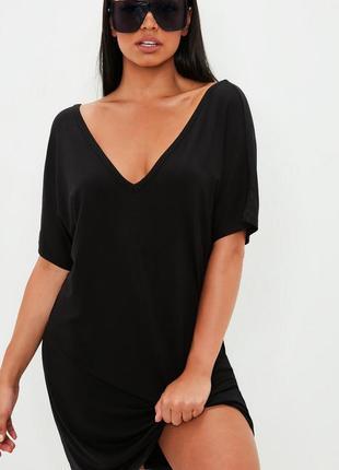 Летнее певседневное легкое вискозное платье футболка с v-образными вырезами missguided