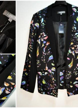 Стильный черный пиджак блейзер с принтом птиц