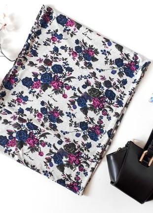 Серый весенний шарф  terranova в цветочный принт розовые и синие цветы хомут