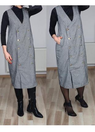 Платье сарафан кокон,в клетку,в стиле милитари