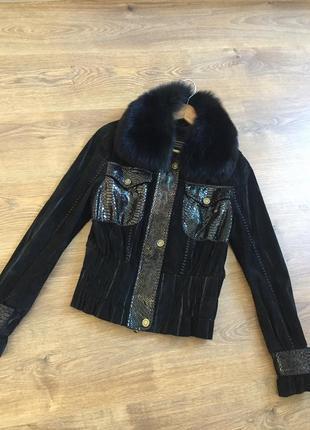 Крутая куртка с натуральным мехом мех жилетка пальто замшевая куртка