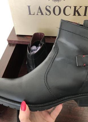 Нові шкіряні ботинки lasocki сапожки полуботинки ботильйоны черевики