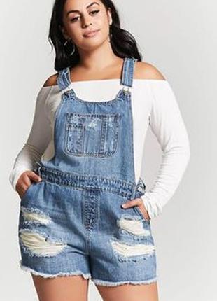 Модный джинсовый комбинезон с шортами большого размера