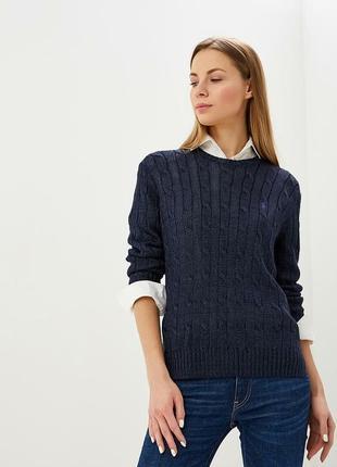 Шикарный шерстяной свитер темно синеего цвета известного бренда