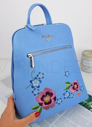 #9109 blue david jones женский рюкзак с красивой вышивкой!