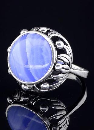 Кольцо голубой агат (серебро)