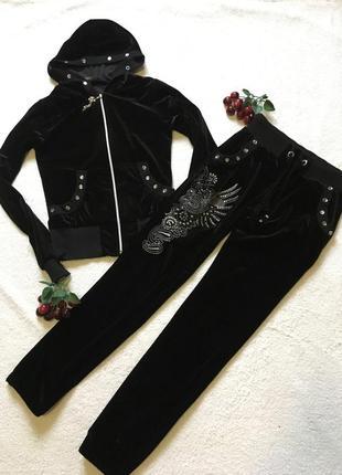 Шикарный чёрный велюровый костюм стразы 42 s